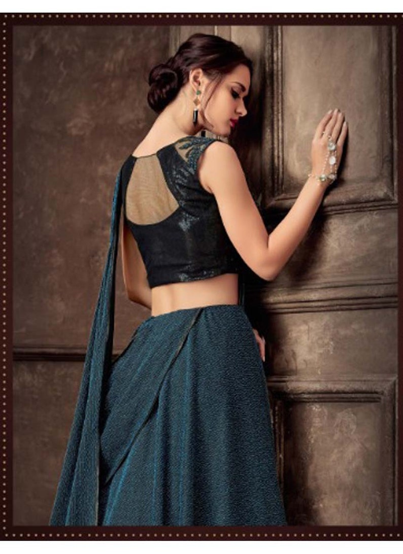 Party Wear Teal Blue Lycra Lehenga Choli Indian Reception Wear Lehenga Choli
