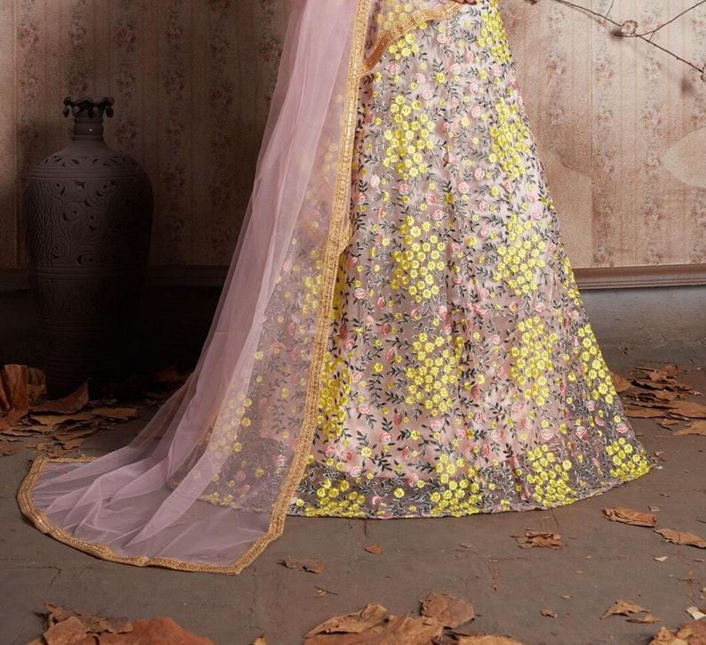 Elegant Party Wear Floral Net Lehenga Choli Latest Designer Net Lehenga Choli With Silk Blouse Net Lehenga