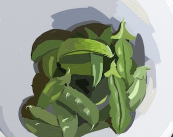 Peas in a Pod - Peas in a Pod Digital Painting - Fresh Vegetables Painting