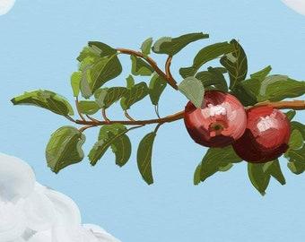 Apple Tree Digital Painting - Apple Tree Picture - Apple Picture - Apples - Digital Oil Painting - Apple Tree