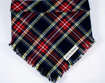 Dog bandana- Plaid dog bandana-cotton dog bandana- christmas dog bandana- tie on bandana-puppy-red-green-tartan plaid- flannel