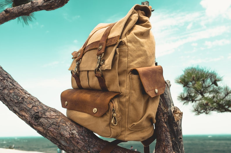 Handmade Canvas Leather Backpack Large Capacity Travel