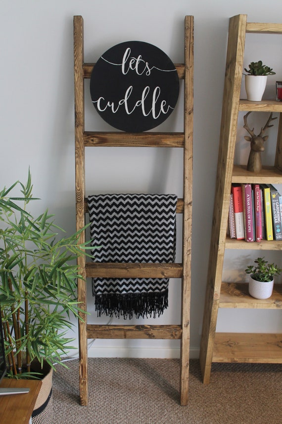 4 5 6ft Wooden Blanket Ladder Rustic Blanket Ladder Etsy