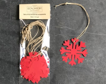 Christmas ornaments, snow flake shapes, set of 10, for hanging or to be used as gift tags