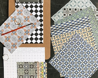 Craft kit no. 1, Portuguese tiles patterns, stocking filler for everyone, craft materials for family activities