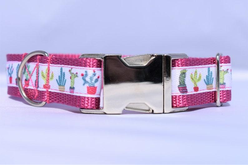 Summer Dog Collar Dog Collar Girly Dog Collar Cactus Dog Collar Cactus Party Custom Pet Collar