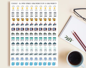 120 Tiny Payment Reminder Planner Stickers, Tiny Planner Stickers, Monthly Calendar Stickers, Bullet Journal Planner Stickers. L-165