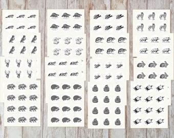 Vintage Inspired Forest Animal Envelope Seal Stickers, Tiny Animal Stickers, Forest Animal Scrapbooking Stickers, Animal Ephemera. VT-159.