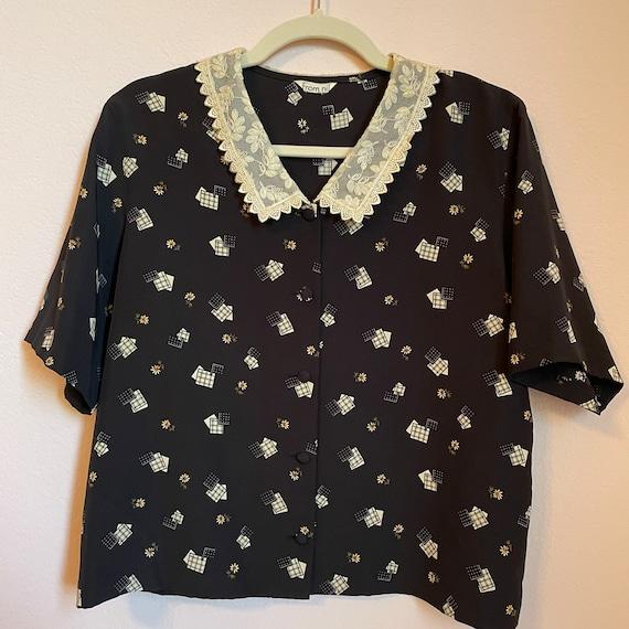 Japanese handkerchief print blouse & skirt set
