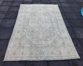 6x9 Brown Heriz Patterned Tebriz Rug, Vintage Persian Area Rug, Hand Made Persian Rug, Pale Persian Bohemian Rug