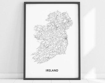 Map Of Ireland Drawing.Ireland Map Etsy