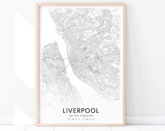 Liverpool Map Of England.Liverpool Map Etsy
