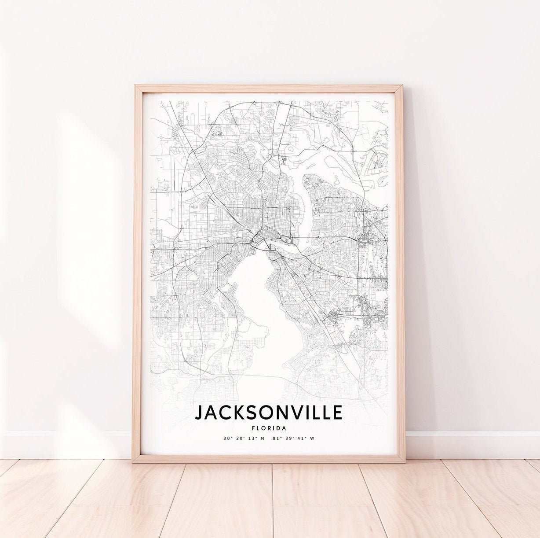 Jacksonville USA City Map Print Wall Art Poster A4 A3 A2 A1 Florida