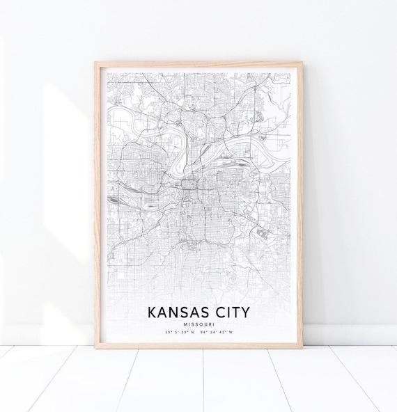 Kansas City Map Print, Missouri USA Map Art Poster, City Street Road Map  Print, Black & White, Modern Wall Art, Office Decor, Printable Art