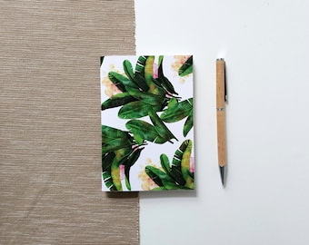 A6 Blank Sketchbook with tropical plant design, notebook with blank pages from 160g/m2 recycled paper | HaseHeisstDerFelix