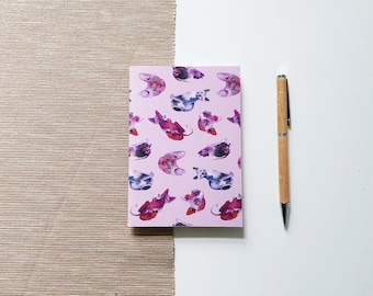 A6 Travel journal with sphynx cat design, sketchbook with blank pages or dot grid | HaseHeisstDerFelix