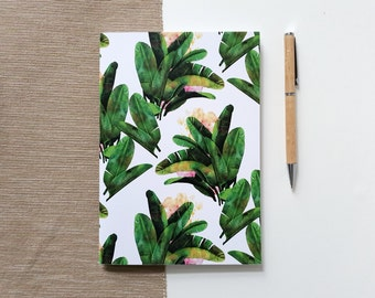 A5 Sketchbook for drawing and painting with tropical plant design, notebook with blank pages or dot grid | HaseHeisstDerFelix