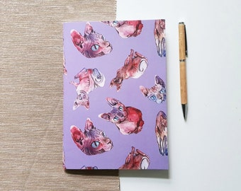 Travelers Notebook with sphynx cat design, journal with blank pages or dot grid | HaseHeisstDerFelix