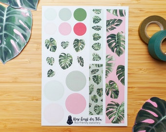 Monstera leaves and dots sticker sheet made from 100% recycled paper | for bullet journal, planner and scrapbook