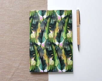 A5 Sketchbook Journal with tropical plant design, notebook with blank pages or dot grid | HaseHeisstDerFelix