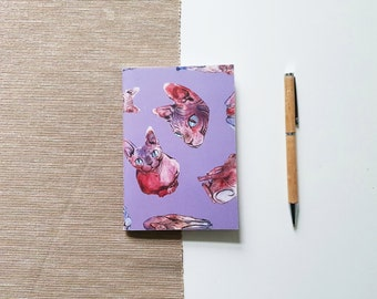 Bullet journal with sphynx cat design, sketchbook with blank pages or dot grid | HaseHeisstDerFelix