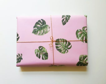 Eco-friendly monstera wrapping paper for birthdays, weddings or mother's day, 3 sheets in A2 made from recycled paper | HaseHeisstDerFelix