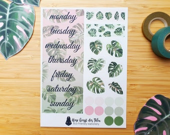 Weekly planner monstera leaves and dots sticker sheet made from 100% recycled paper | for bullet journal, planner and scrapbook