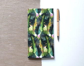Standard size sketchbook with tropical plant design, notebook with blank pages or dot grid | HaseHeisstDerFelix