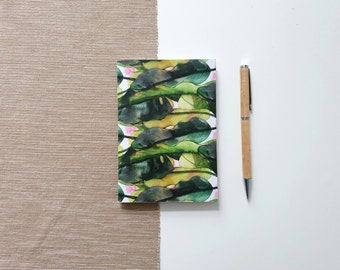 A6 Sketchbook for watercolor with tropical plant design, notebook with blank pages from 160g/m2 recycled paper | HaseHeisstDerFelix