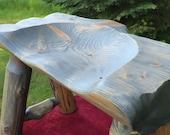 Saddle Cut Log Bench, Tractor Seat Log Bench