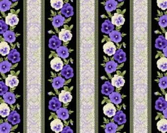 Fabric, Floral Fabric, Accent of Pansies, Fabrics, Pansies Fabric, Quilting Fabric, Fabric by the Yard, Benartex Fabric, 2566B-99