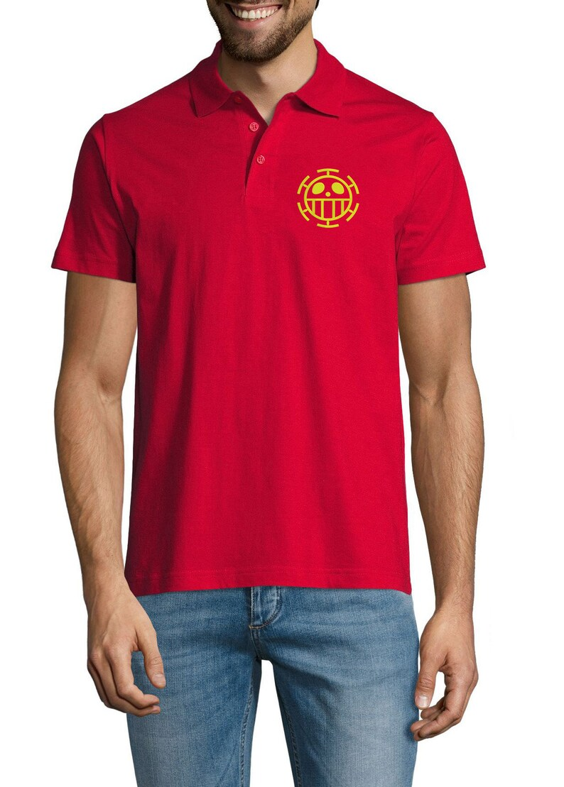 Embroidered One Piece Jolly Roger Luffy Anime Flag Symbol Sportswear Polo Shirt For Man Top Tees Summer Wear