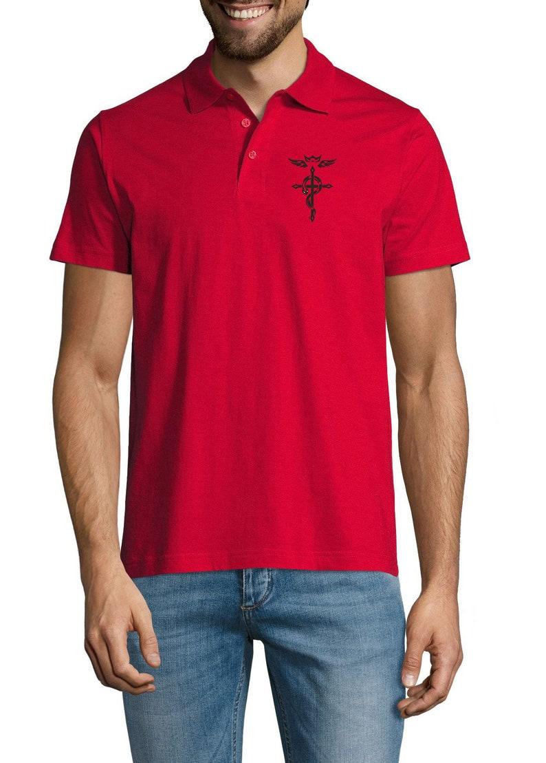 Embroidered Full Metal Alchemist Anime Symbol Logo Anime Sportswear Polo Shirt For Man Top Tees Summer Wear