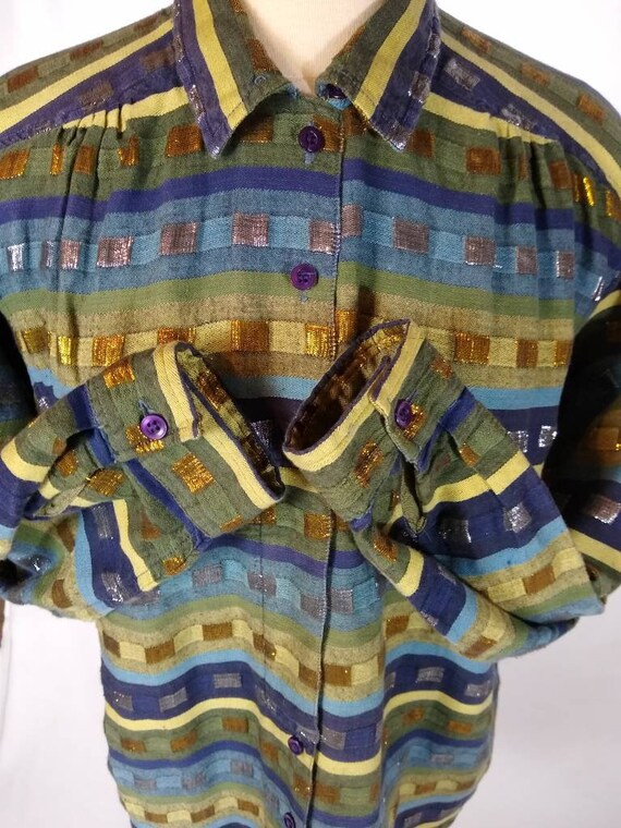 Retro shirt made in India with multicolor metallic