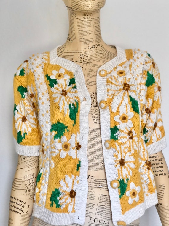 Vintage Frilly White Cardigan  Daisy Button Sweater 90s Grunge