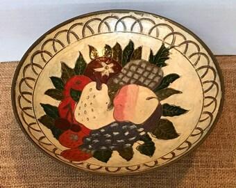 Enameled Brass Fruit Pedestal Bowl, Vintage Painted Brass Dish for Boho Home