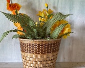 Wicker Woven Planter Basket Cachepots with Plastic Lining Vintage Rattan