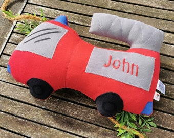 Fire brigade cuddly pillow / optionally with name and rattle