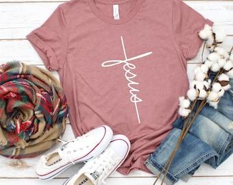 Jesus T-shirt, Jesus, Christian Shirt, Jesus Shirt, Vertical Cross, Cross, Jesus Cross, Religious Shirt, Church, Disciple, Love,Grace, Faith