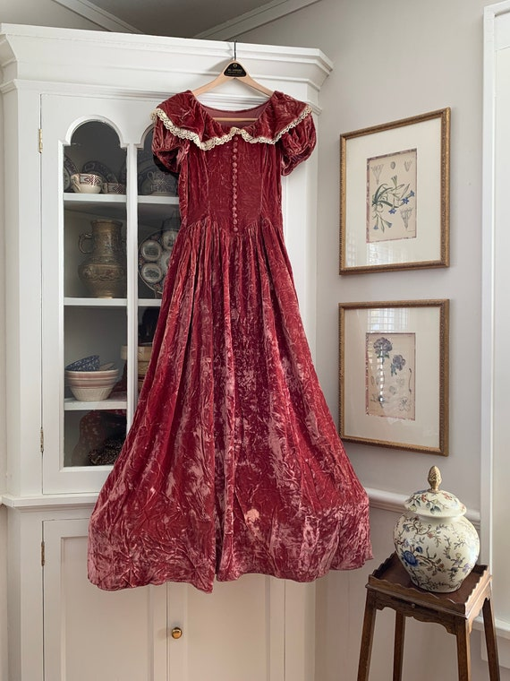 1930s Velvet Dress - Dusty Rose