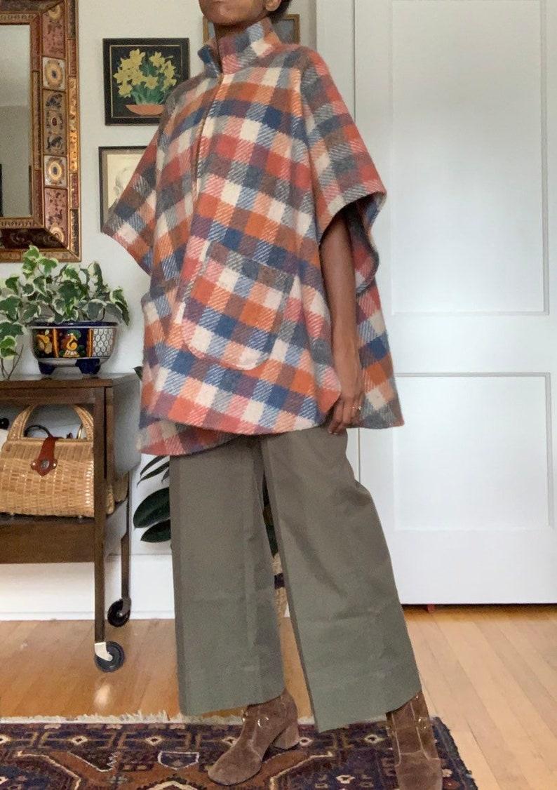 BEMIDJI Woolen Mills Plaid Wool Poncho Pullover Cape Coat Jacket Made in USA