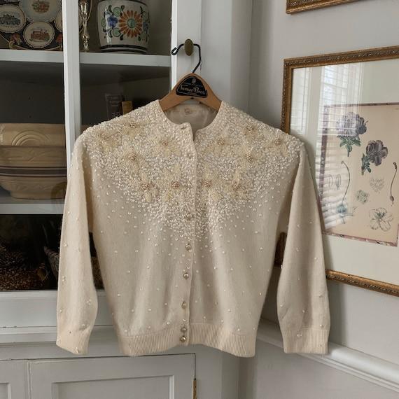 50s Cream Beaded Cardigan Sweater