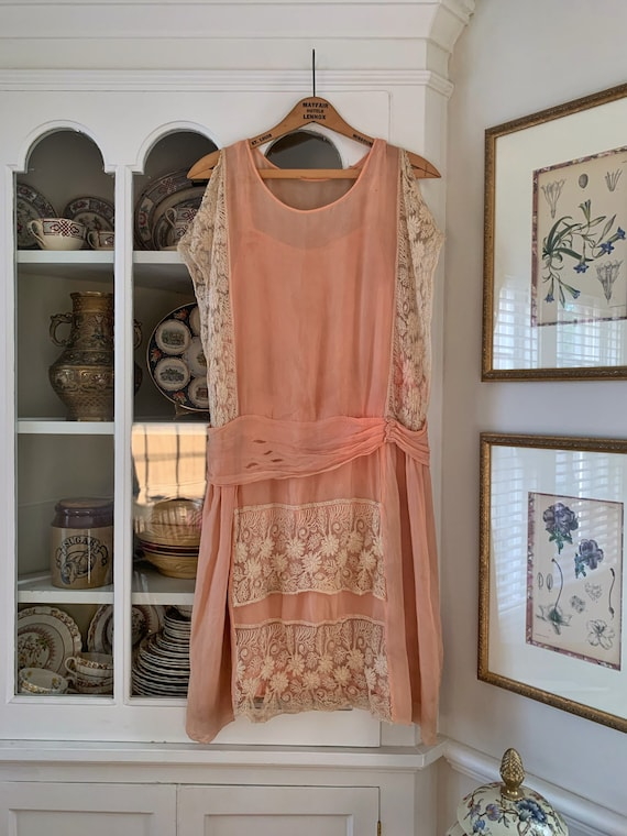 1920's Silk and Lace Flapper Dress