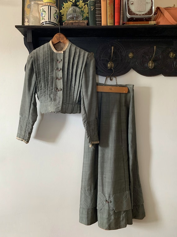 A Victorian Walking Suit Dress and Skirt Set