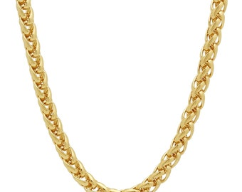 Solid 14K Yellow Gold Wheat Link Chain Necklace Unisex, Real Italian 14k Gold Chain for Men and Women, 14K Gold Chain, Gold Chain