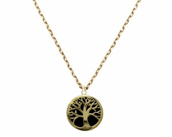 Solid 14k Yellow Gold Tree Of Life Necklace