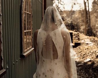 VENUS - Star moon pegasus embroidered celestial wedding veil. Handmade to order. Galaxy constellation veil