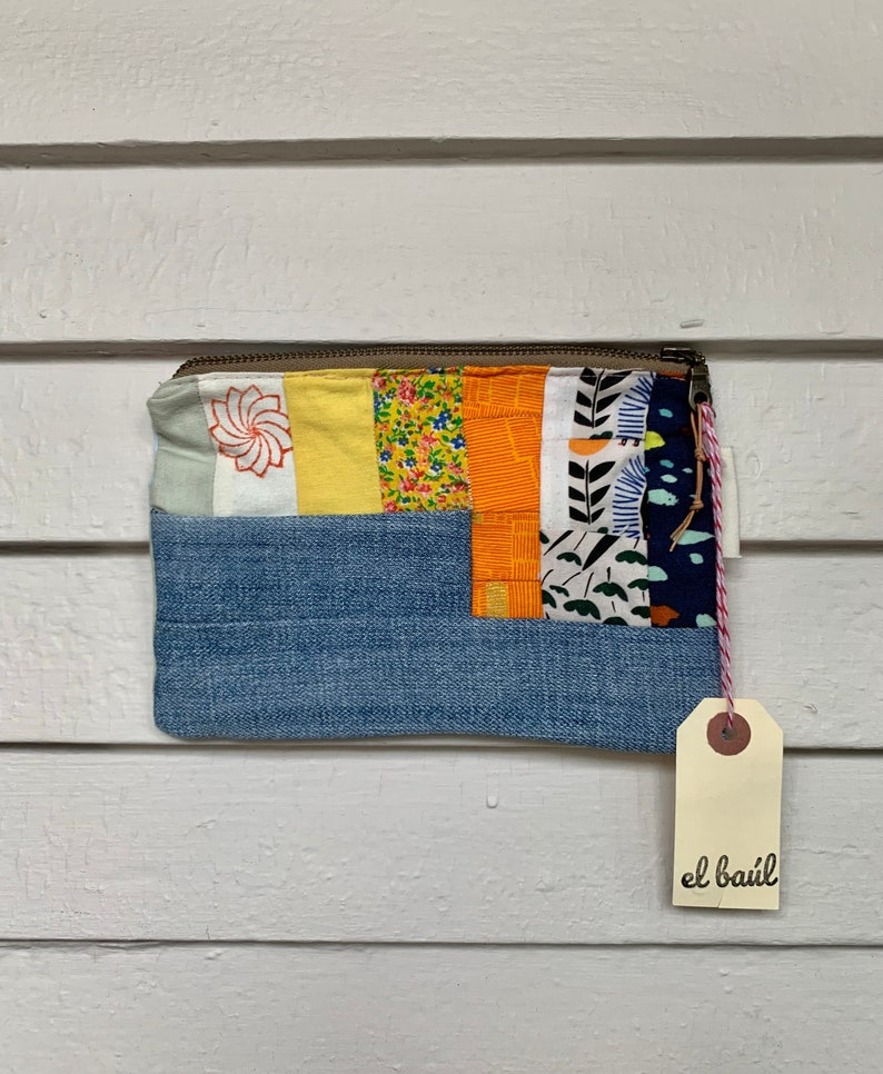 patchwork Unique Hayfield up-cycled vintage and hand-dyed fabric change purse