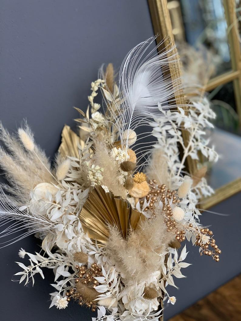 Brautstrauß aus Trockenblumen | gold, weiß