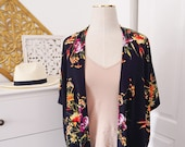 Womens Navy Floral Duster - Bohemian Apparel - Spring Accessories - Floral Duster